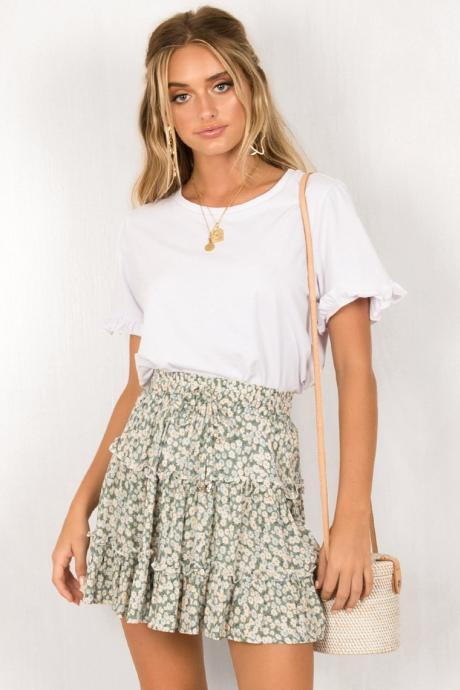 Women Mini Skirt High Waist Ruffles Casual Summer Beach Boho Floral Printed Short A-Line Skirt green floral