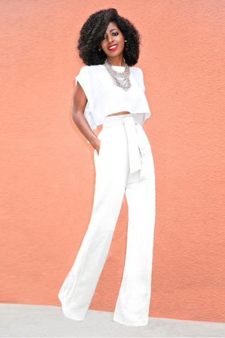 Women Wide Leg Pants High Waist Belted Casual OL Work Office Long Palazzo Trousers white