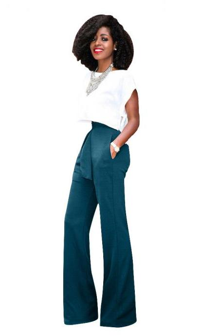 Women Wide Leg Pants High Waist Belted Casual OL Work Office Long Palazzo Trousers green