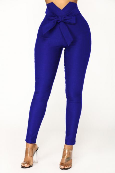 Women Pencil Pants Elastic High Waist Bowknot Casual Long Slim Skinny Trousers blue