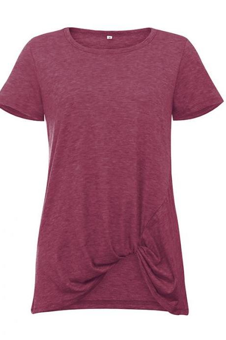 Women Short Sleeve T Shirt O Neck Summer Tie Asymmetrical Casual Loose Tee Tops wine red