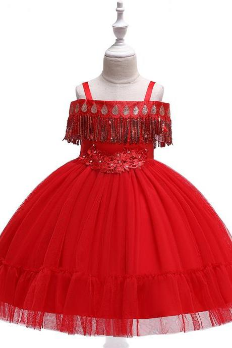 Princess Flower Girl Dress Sequined Tassel Wedding Birthday Perform Party Tutu Gown Children Kids Clothes red