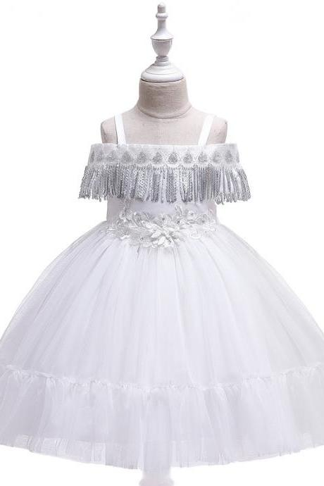 Princess Flower Girl Dress Sequined Tassel Wedding Birthday Perform Party Tutu Gown Children Kids Clothes white