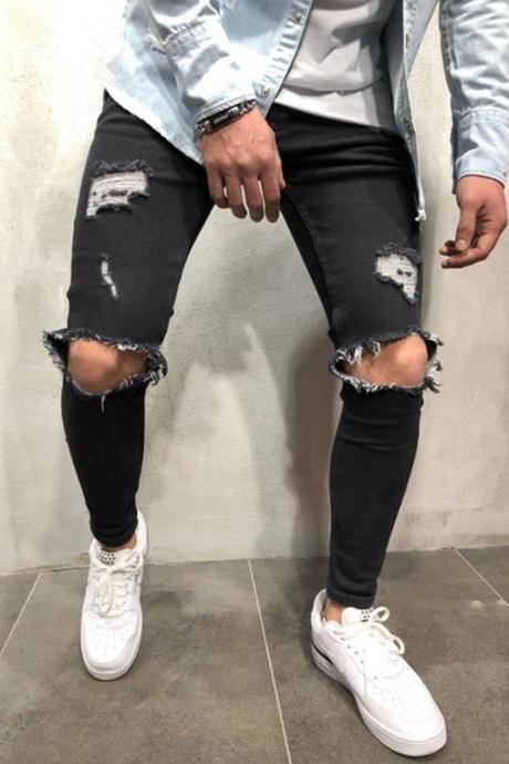 Men Skinny Jeans Trousers Mid Waist Ripped Hole Pencil Pants Casual Slim Denim Pencil Pants black