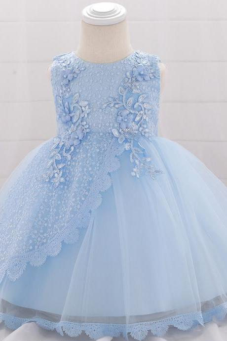 Lace Flower Girl Dress Princess Newborn Baptism Party Birthday Tutu Gown Baby Kids Clothes sky blue