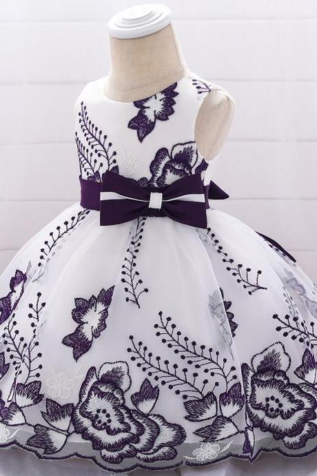 Embroidery Flower Girl Dress Bow Tutu Newborn Christening Baptism Party Birthday Gown Baby Kids Clothes dark purple