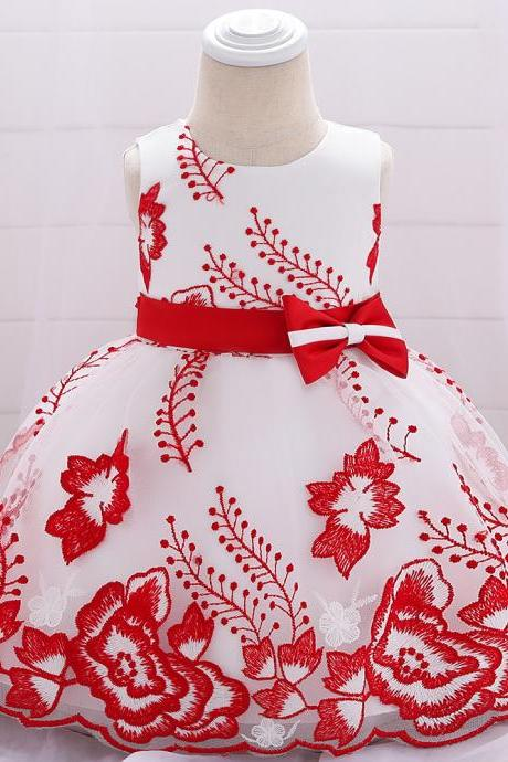 Embroidery Flower Girl Dress Bow Tutu Newborn Christening Baptism Party Birthday Gown Baby Kids Clothes red