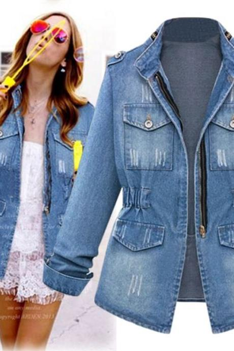 Women Denim Coat Autumn Casual Pocket Long Sleeve Slim Plus Size Jeans Jacket Outwear blue