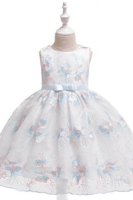 Floral Flower Girl Dress Princess Wedding Birthday Prom Party Tutu Gown Children Kids Clothes baby blue