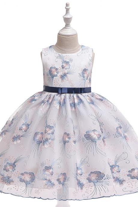 Floral Flower Girl Dress Princess Wedding Birthday Prom Party Tutu Gown Children Kids Clothes navy blue