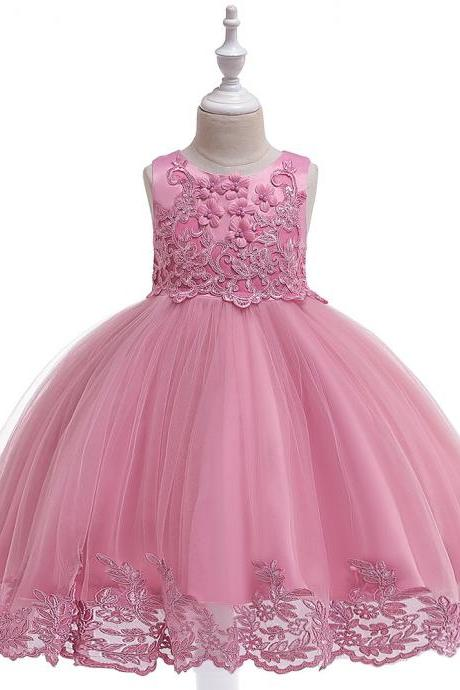 Applique Lace Flower Girl Dress Princess Wedding Birthday Prom Party Tutu Gonws Kids Children Clothes bean pink