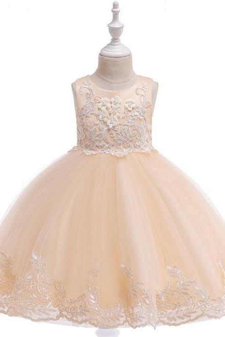 Applique Lace Flower Girl Dress Princess Wedding Birthday Prom Party Tutu Gonws Kids Children Clothes champagne