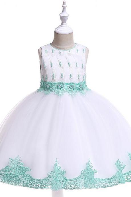 Lace Flower Girl Dress Princess Wedding Dance Birthday Party Tutu Gown Children Kids Clothes aqua