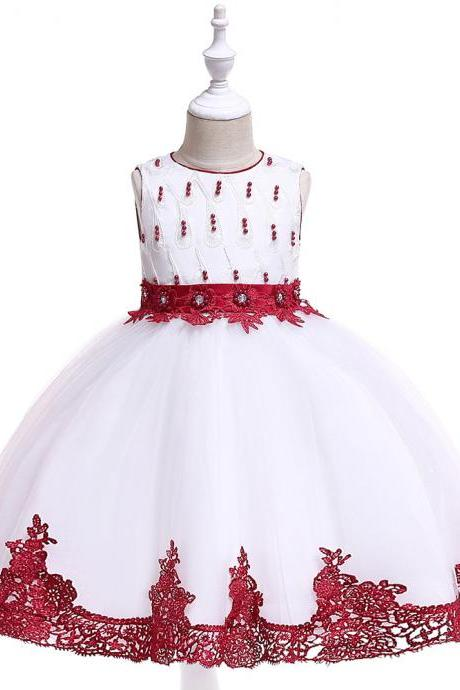 Lace Flower Girl Dress Princess Wedding Dance Birthday Party Tutu Gown Children Kids Clothes wine red