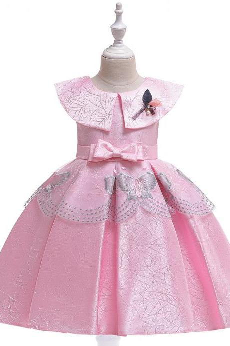 Satin Flower Girl Dress Butterfly Embroidery Formal Birthday Perform Party Tutu Gown Kids Children Clothes pink
