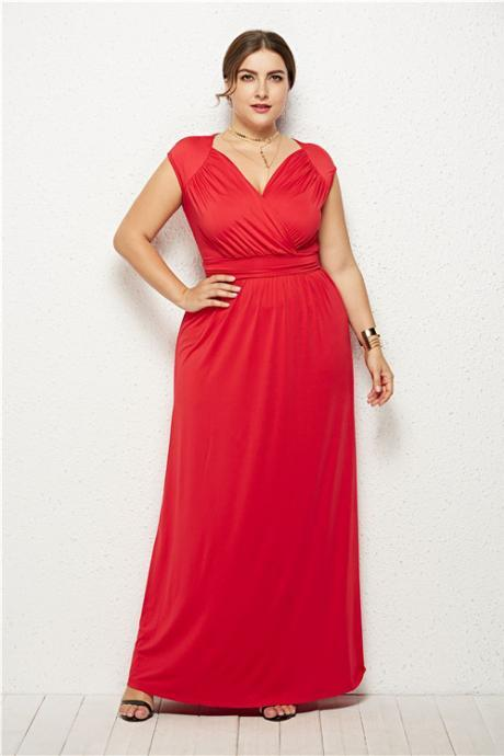 Plus Size Women Maxi Dress V Neck Sleeveless Casual Slim Long Evening Party Dress red