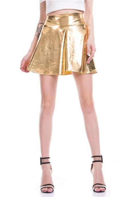 Women Mini Metallic Skirt Summer High Waist PU Leather Casual Stage Short A Line Club Party Skirt gold