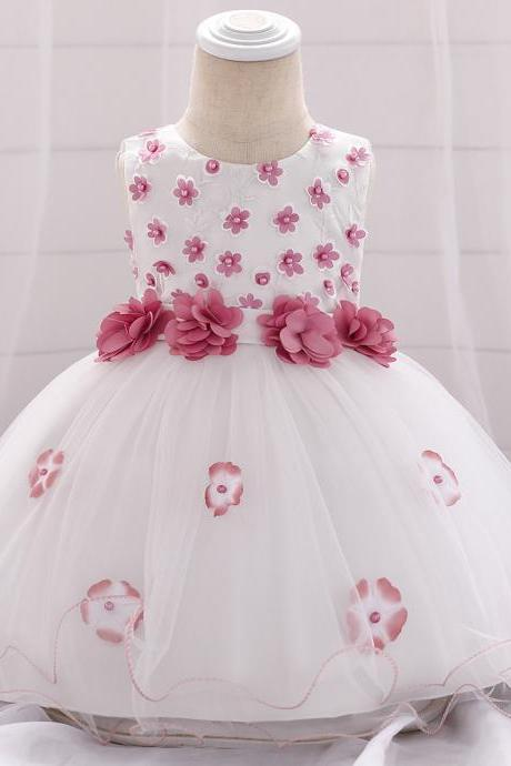 Beaded Flower Girl Dress Floral Princess Newborn Baptism Party Birthday Tutu Gown Baby Kids Clothes bean pink