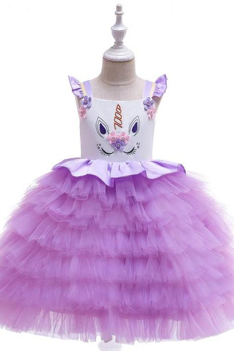 Unicorn Flower Girl Dress Princess Wedding Birthday Perform Party Tutu Gown Kids Children Clothes purple