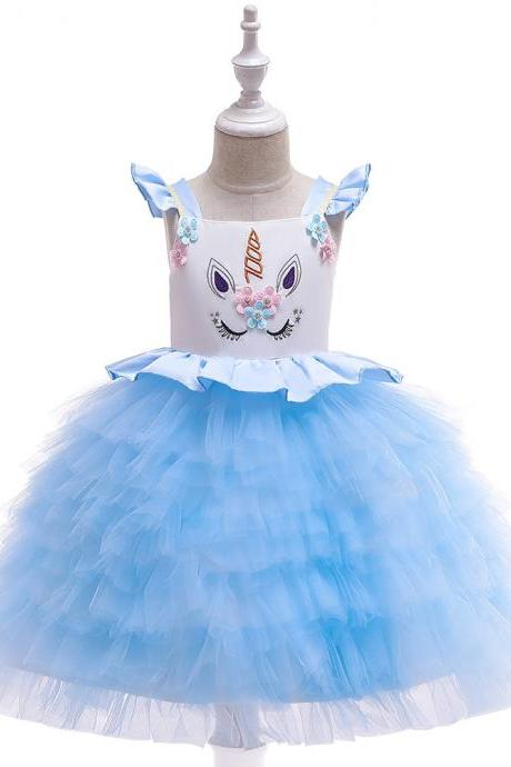 Unicorn Flower Girl Dress Princess Wedding Birthday Perform Party Tutu Gown Kids Children Clothes sky blue