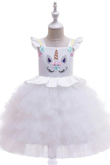 Unicorn Flower Girl Dress Princess Wedding Birthday Perform Party Tutu Gown Kids Children Clothes white