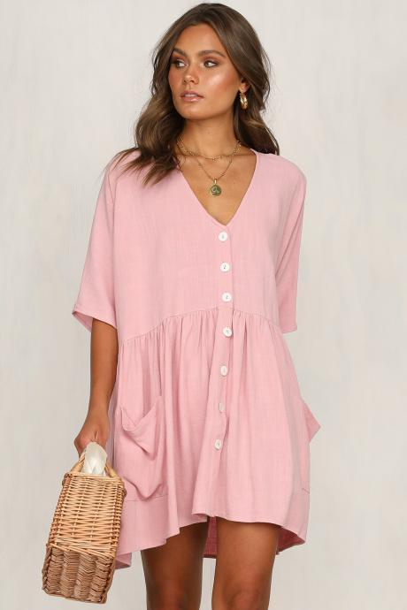 Women Casual Dress Summer Half Sleeve V Neck Pockets Buttons Loose Mini Dress pink