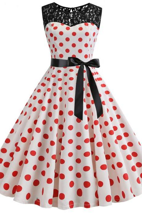 Women Polka Dot Dress Summer Sleeveless Lace Patchwork Belted A Line Formal Party Dress2#