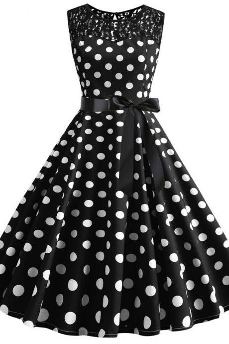 Women Polka Dot Dress Summer Sleeveless Lace Patchwork Belted A Line Formal Party Dress5#