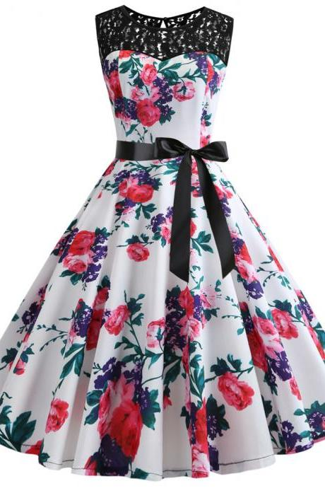 Women Floral Printed Dress Summer Sleeveless Lace Patchwork Belted A Line Formal Party Dress7#