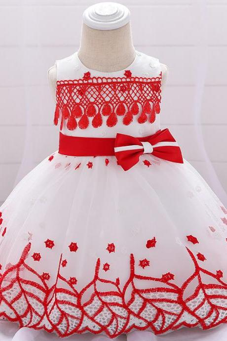 Lace Flower Girl Dress Princess Newborn Wedding Baptism Birthday Party Tutu Gown Baby Kids Clothes red