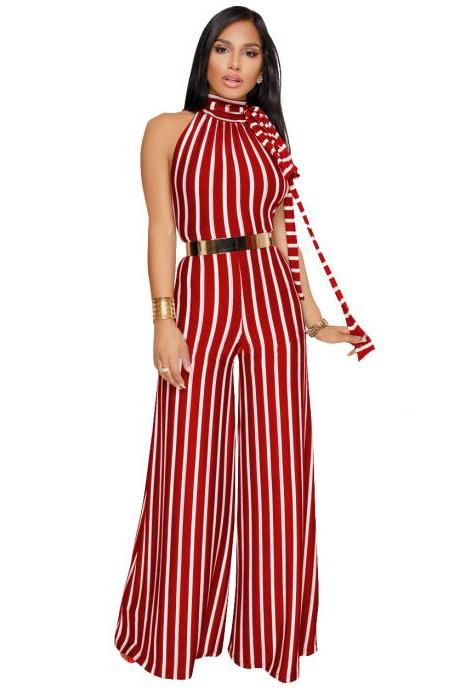 Women Striped Jumpsuit Casual Loose Backless Party Club Long Wide Leg Rompers Overalls red