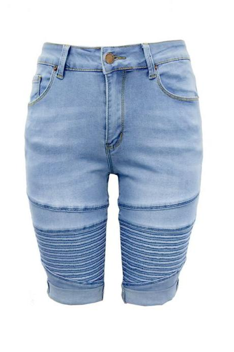 Women Jeans Summer Mid Waist Skinny Knee Length Female Stretch Denim Shorts Pants light blue