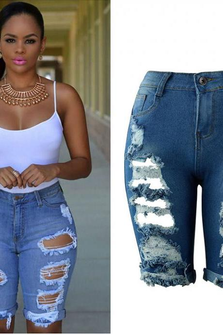 Women Jeans Summer High Waist Knee Length Ripped Holes Skinny Short Denim Pants blue