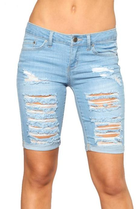 Women Jeans Summer High Waist Slim Knee Length Ripped Holes Casual Skinny Short Denim Pants light blue
