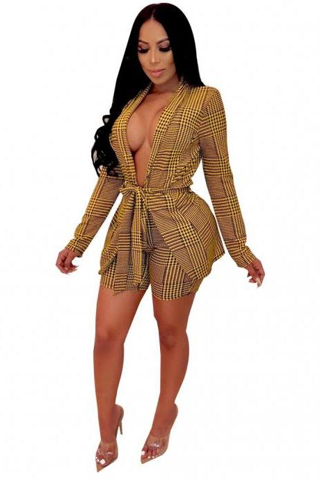 Women Tracksuit Houndstooth Open Stitch Blazer Coat+Shorts Casual Work Office Two Pieces Set yellow