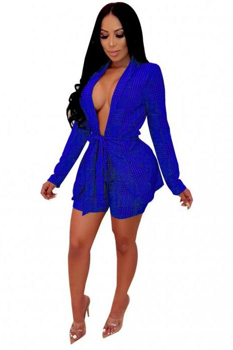 Women Tracksuit Houndstooth Open Stitch Blazer Coat+Shorts Casual Work Office Two Pieces Set blue