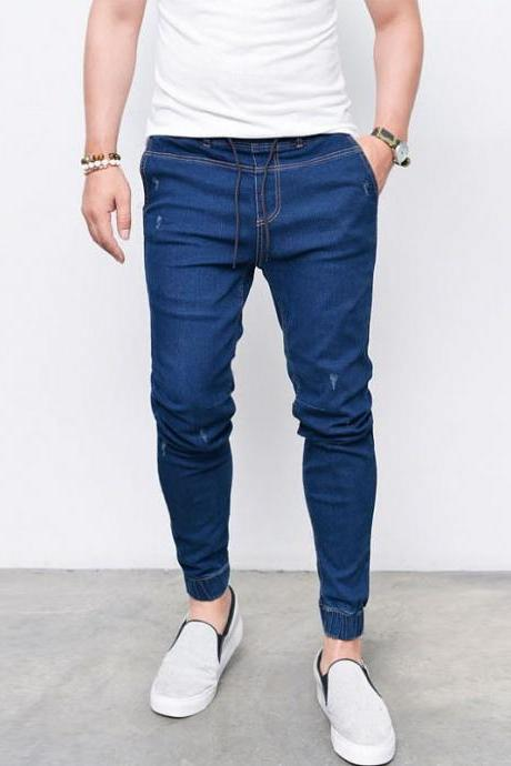 Men Skinny Jeans Drawstring Mid-Waist Ripped Casual Streetwear Slim Long Denim Pencil Pants dark blue