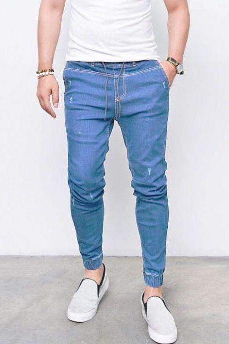 Men Skinny Jeans Drawstring Mid-Waist Ripped Casual Streetwear Slim Long Denim Pencil Pants light blue