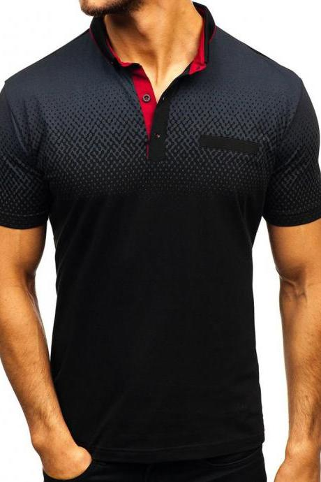 Men T-Shirt Summer Short Sleeve Turn-Down Collar 3D Printed Casual Slim Fit Polo Shirt black