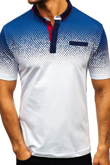 Men T-Shirt Summer Short Sleeve Turn-Down Collar 3D Printed Casual Slim Fit Polo Shirt white