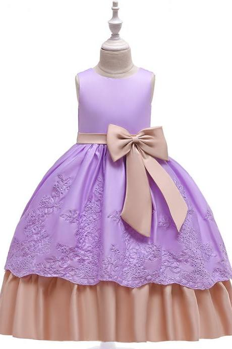 Long Satin Flower Girl Dress Embroidery Formal Birthday Perform Party Tutu Gown Kids Children Clothes lilac
