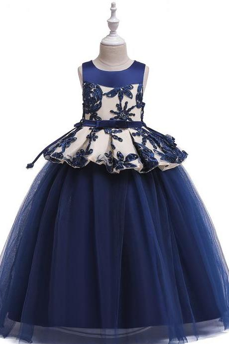 Long Flower Girl Dress Embroidery Teens Formal Birthday Party Tutu Gown Children Kids Clothes navy blue