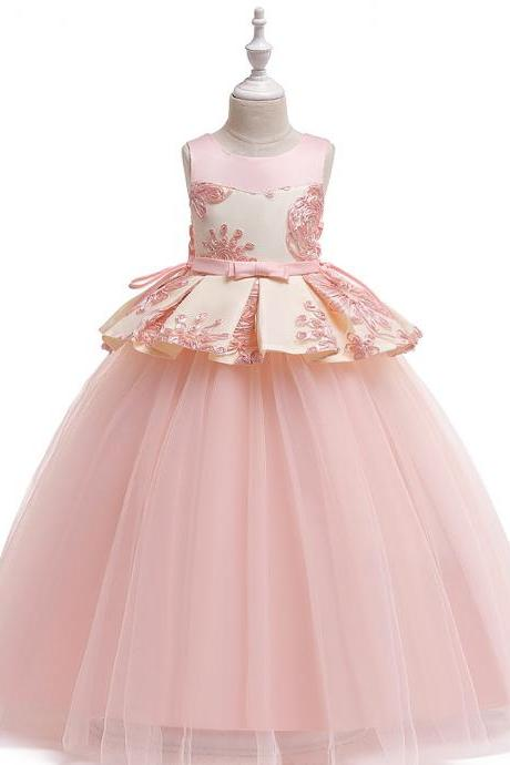 Long Flower Girl Dress Embroidery Teens Formal Birthday Party Tutu Gown Children Kids Clothes salmon