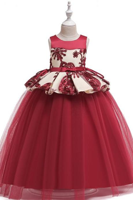 Long Flower Girl Dress Embroidery Teens Formal Birthday Party Tutu Gown Children Kids Clothes wine red