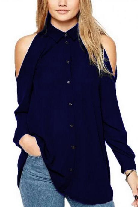 Women Chiffon Blouse Off the Shoulder Long Sleeve Casual Loose Plus Size Top Shirt navy blue