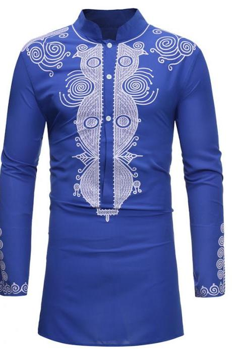 Men African Dashiki Printed Shirt Stand Collar Button Long Sleeve Casual Slim Shirt blue