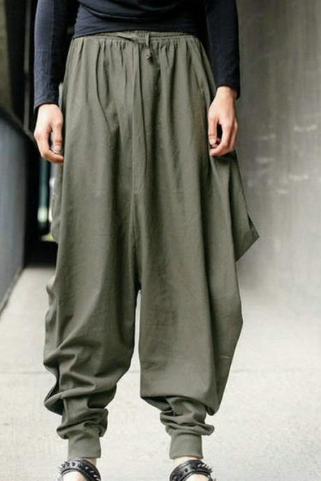 Men Harem Pants Drawstring Waist Plus Size Hip Hop Streetwear Casual Loose Baggy Trousers army green