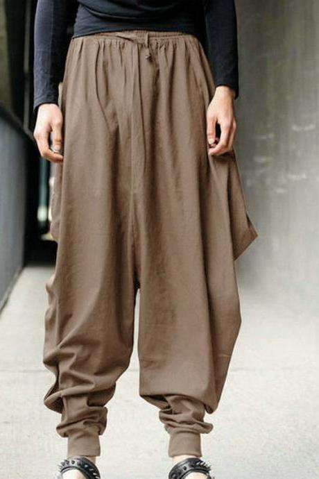 Men Harem Pants Drawstring Waist Plus Size Hip Hop Streetwear Casual Loose Baggy Trousers khaki