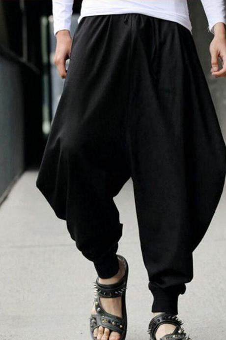 Men Harem Pants Drawstring Waist Plus Size Hip Hop Streetwear Casual Loose Baggy Trousers black