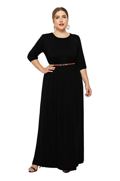 Women Maxi Dress O-Neck 3/4 Sleeve Belted Plus Size Long Formal Party Dress black